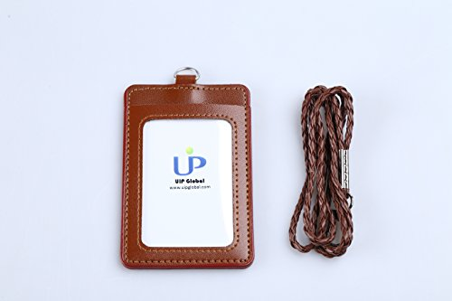 Brown Badge Holder, PU Leather ID Badge Holder - 1 ID Window 1 Card Slot and Twisted Lanyard for Men Women