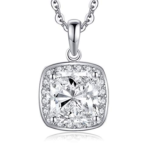 WOAINI Rhodium Plated Sterling Silver 3.0 Carats Cushion Cut Cubic Zirconia Halo Pendant Necklace 18 Inches Women Gift
