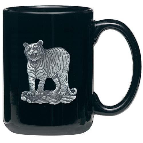 (1pc, Pewter Tiger Coffee Mug, Black)
