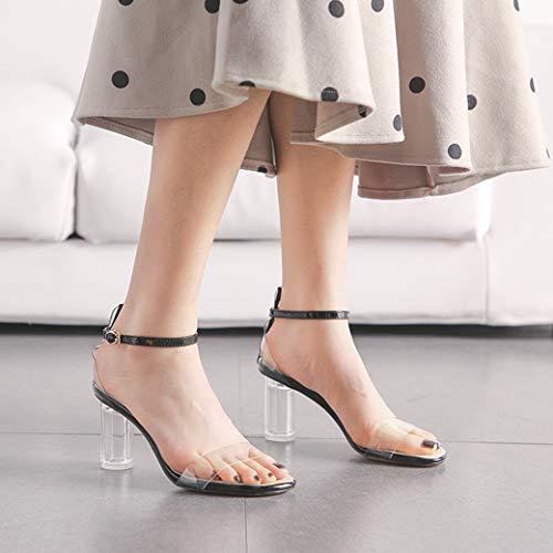Verano Elegantes Annieshoe Zapatos Mujer De Tacon Sexy Vestir Sandalias Transparentes Negro WqH8gfwO7H
