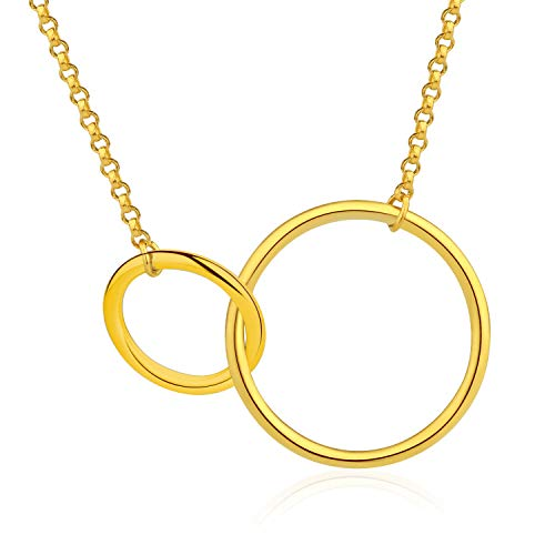 Esberry✦18K Gold Plated S925 Sterling Silver CZ Interlocking Circles Infinity Pendant Necklace Cubic Zirconia Two Circles Pendant with Necklace for Women and Girls (Yellow Gold-2)