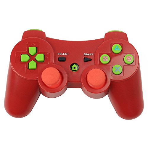 PS3 Controller,YUDEG Bluetooth Gamepad Wireless Dual shock Controller with Charging Cable for PS3 PlayStation 3 (Red) (Controller 3 Dual Shock Wireless Ps3)