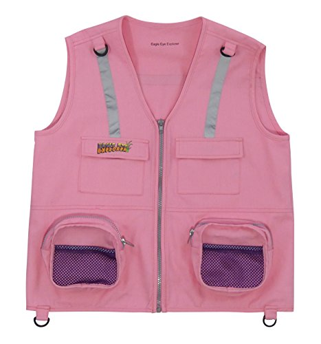 - Eagle Eye Explorer Kids Cargo Vest for Boys and Girls with Reflective Safety Straps. 100% cotton. Size: S/M Color Pink
