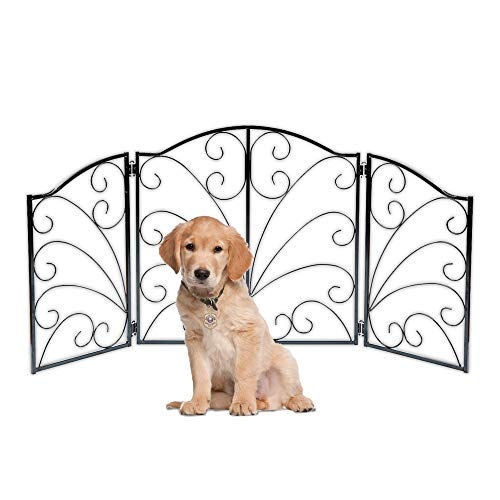 Indoor/Outdoor Arched Scroll Metal 3 Panel Pet Gate - Expands From 24