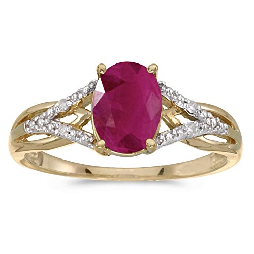 FB Jewels 14k Yellow Gold Genuine Red Birthstone Solitaire Oval Ruby And Diamond Wedding Engagement Statement Ring - Size 5.5 (1.05 Cttw.)