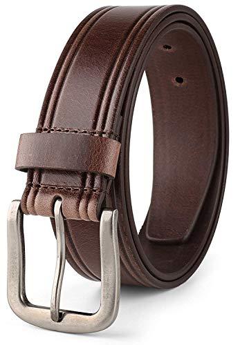 [해외]남성용 캐주얼 벨트 탑 그레인 이탈리아 부드러운 가죽 럭셔리 & 우아한 디자인 38mm / Mens Casual Belt Top Grain Italian Leather 38mm 1.5 wide Classic Design Brown 32