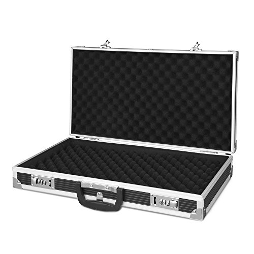 Aluminum Hard Carry Case (IKAYAA Aluminum Framed Hard Locking Pistol Gun Case Handgun Revolver Carry Storage Box With 2 Combination Lock)