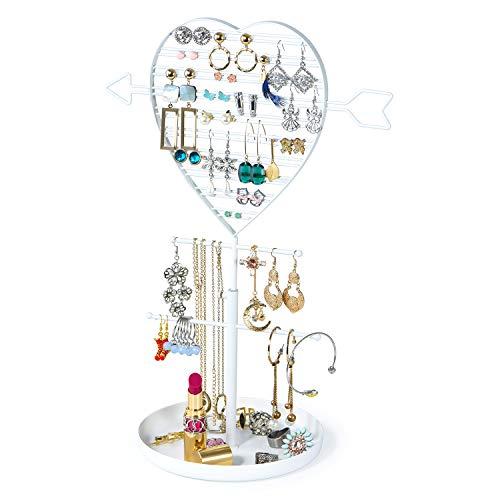 - SRIWATANA Jewelry Holder Organizer, Earring Holder Tree, Metal Earring Organizer with Cupid's Arrow Design(White)