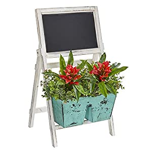 Nearly Natural 8387 26-in. Bromeliad and Eucalyptus Artificial Farmhouse Stand with Chalkboard Silk Plants, Red 98