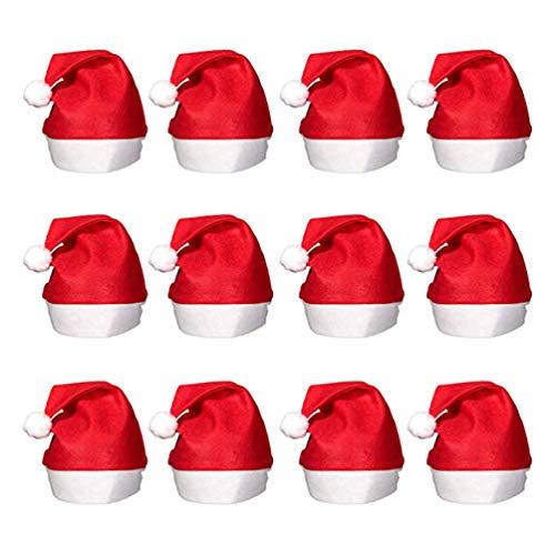 12 Pcs Adults Christmas Santa Hats - Unisex Economical Classic Red Felt Santa Clause Caps for Xmas -