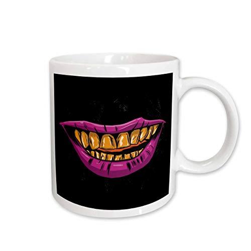 3dRose Sven Herkenrath Funny - Purple Lips with Yellow Teeth Halloween Monster - 15oz Two-Tone Red Mug (mug_316115_10)
