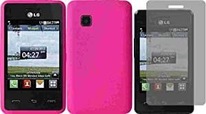 For Tracfone LG 840G LG840G Silicone Jelly Skin Cover Case Hot Pink + LCD Screen Protector