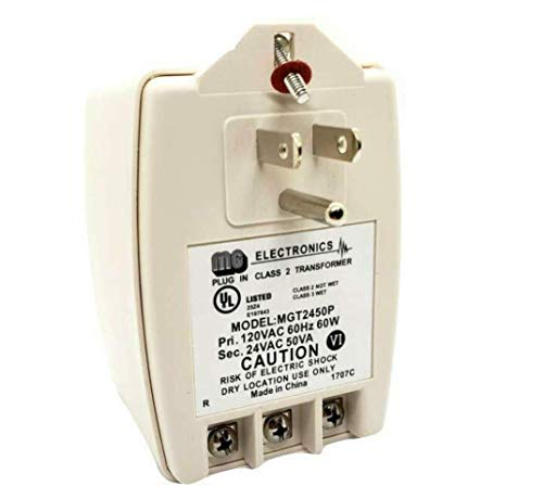 MG Electronics MGT2450P AC Power Supply & Transformer, 24VAC 50VA with PTC Auto Resettable Fuse, UL Listed ()