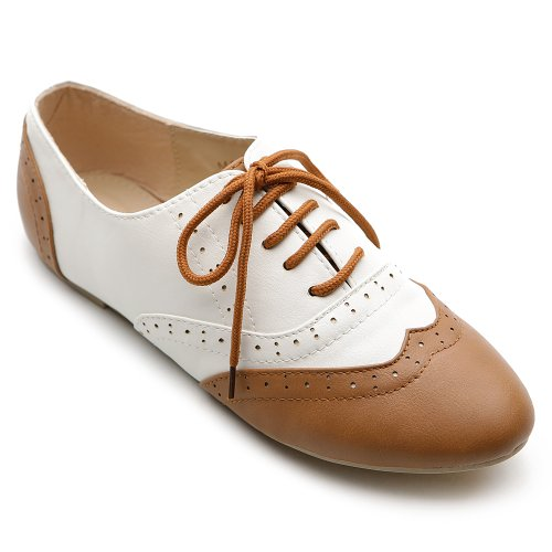Ollio Women's Shoe Classic Lace Up Dress Low Flat Heel Oxford M1914(9.5 B(M) US, Brown-White)