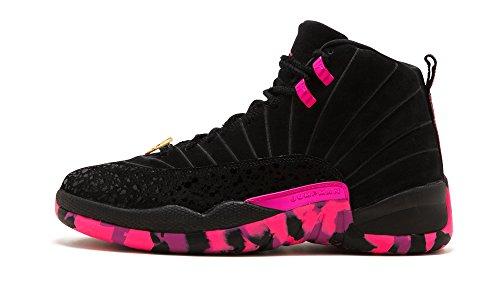 NIKE Mens Jordan Retro 12 Dorenbecher Carissa Navarro Black/Pink Blast/Hyper Violet AH6987-023 Size 8 by NIKE