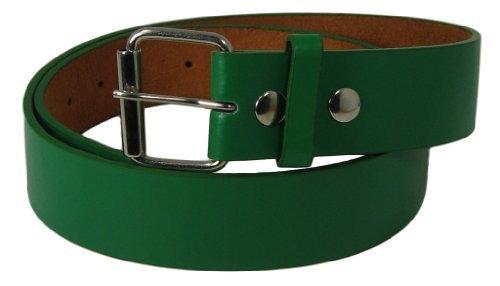 JTC Belt Genuine Faux Plain Leather Belt Detachable Buckle, Snap On. Green. Medium (Belt Buckle Detachable)