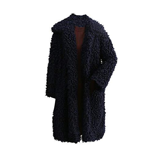 Goyfeelip Piel sintética Abrigo Largo Mujer Invierno más tamaño Solapa Chaqueta de Lana Chaqueta Outwear (Color : Deep Blue, Size : XXL)