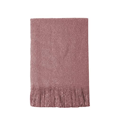 """Bourina Brushed Weave Throw Blanket- Soft Lightweight Cozy for Bed Couch Fringe Decorative Mohair Throw Blankets, 50"""" x 60"""",Cranberry Red"""