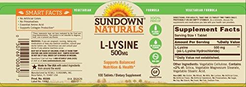 Sundown Naturals L Lysine 500 mg Essential Amino Acids, 100 Tablets
