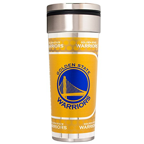 Nba Travel Mug - Great American Products NBA Golden State Warriors Travel Tumbler with Metallic Graphics, 22-Ounce, Silver