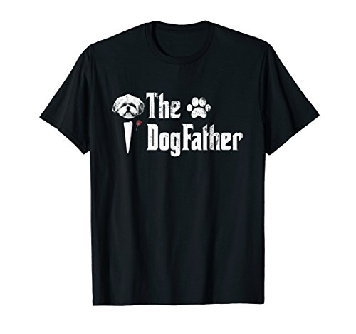 Mens The Dogfather Shih Tzu Dog Dad Tshirt Father's Day Gift ()