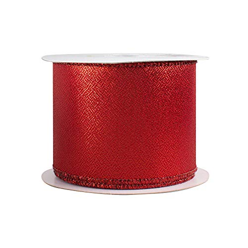 (Metallic Red Wired Christmas Ribbon - 2 1/2 inch x 10 Yards, Double Sided Lamé, Valentine's Day, Decor for Wreaths, Christmas Trees, Garlands, Bows, Valentine's Day, Mother's Day)