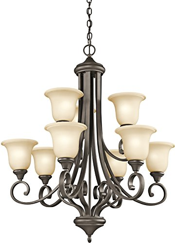 (Kichler 43159OZ Transitional Nine Light Chandelier from Monroe Collection in Bronze/Dark Finish, 9, Olde)