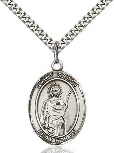 Grace Medal Pendant - Sterling Silver Saint Grace Medal Pendant, 1 Inch