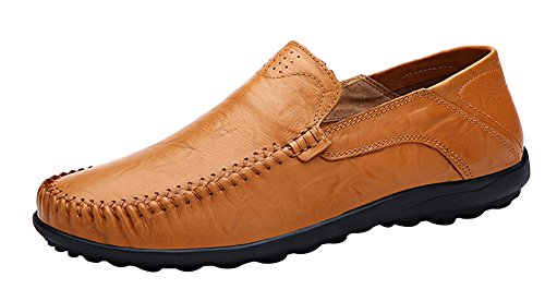 LOUECHY Men's Liberva Slip-On Loafer Shoes Comfort Driving Shoes Leather Casual Shoe 8201-40 Ochre