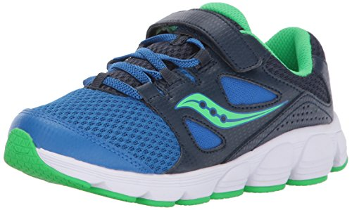 Saucony Kotaro 4 A/C Sneaker (Little Kid/Big Kid), Navy/Green, 4 W US Big Kid by Saucony