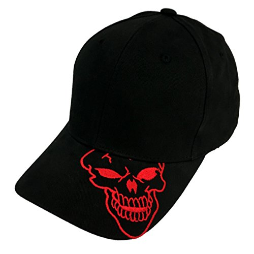 (Skull Skeleton Cotton Adjustable Baseball Cap - Skull on Brim, Red)