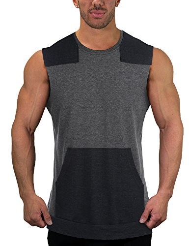 (COOFANDY Mens Workout Tank Tops Sleeveless Muscle Gym Bodybuilding T Shirt Sports Training Tees,Charcoal Grey,Medium)