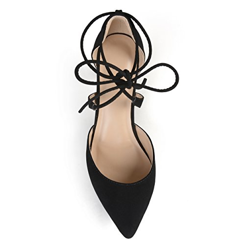 Journee Collectie Dames Lace-up Enkelbandje Neus Teen Puntige Pumps Zwart