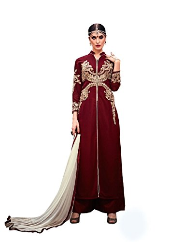 Urban.India Women's Georgette Straight Semi-Stitched Suit Free Size Red