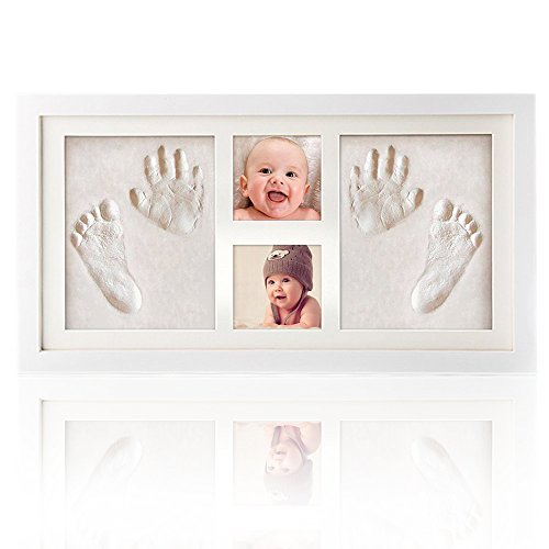 Baby Handprint Kit & Footprint Photo Frame for Newborn Girls and Boys, Baby Photo Album For Shower Registry, Personalized Baby Gifts, Keepsake Box Decorations for Room Wall Decor by ROYI (Baby Book Personalized Memory)