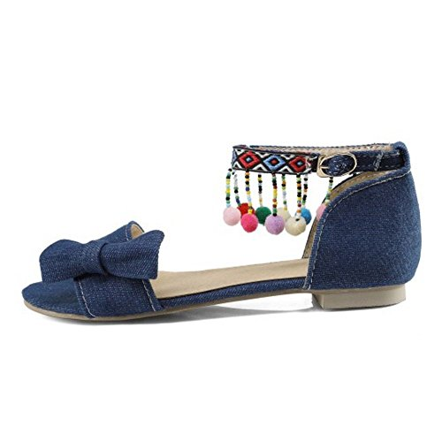 Blue Open Sandals Toe Women TAOFFEN Dark wXxUZXq