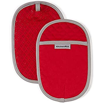 KitchenAid Asteroid Cotton Pot Holders with Silicone Grip, Set of 2, Fire Red