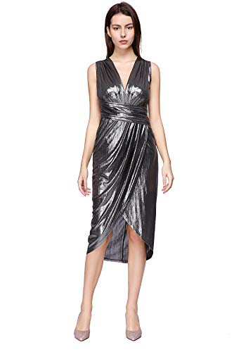 Women's Sequin Glitter V Neck Sleeveless Empire Waist