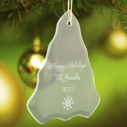 (Personalized Beveled Glass Ornament - Tree Shaped - Snowflake)