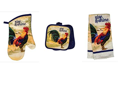 Plum Nellie's Treasures Rooster Kitchen Decor - Rise and Shine Rooster - Kitchen Towel, Oven Mitt & Potholder Set of 4