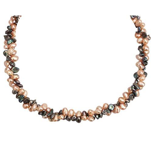 Perles de Philippine - Collier perles de culture rares pétales grises et roses