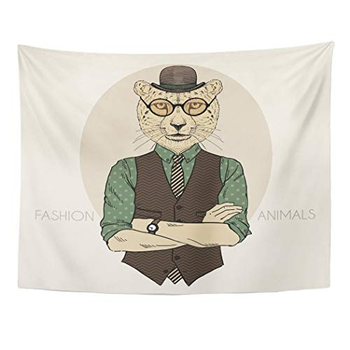 Emvency Tapestry Wall Hanging Animal of Cheetah Hipster in Bowler Hat Cat Head Vest Male Tie Anthropomorphic 60