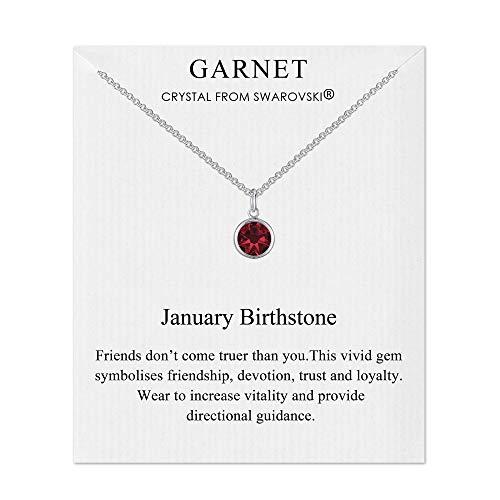 Philip Jones January (Garnet) Birthstone Necklace Created with Austrian Crystals