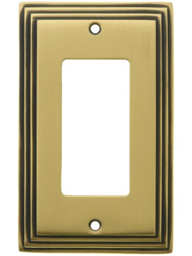 (House of Antique Hardware R-010II-MCSP-G-AB Mid-Century GFI/Decora Cover Plate - Single Gang in Antique Brass)