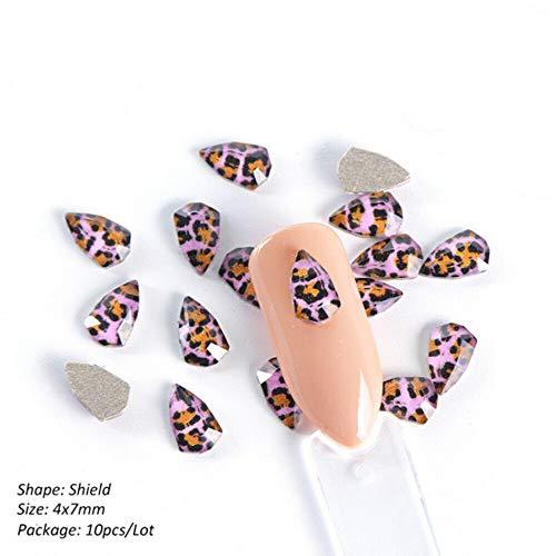 Nail Rhinestones Nail Stones Purple Leopard Print Nail Art Decorations (Size - Shield)