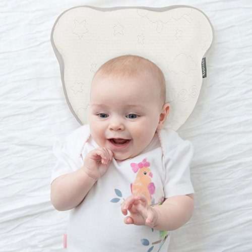 Kushies Easy Bear – Soft & Soothing Breathable Baby Head Shaping Memory Foam Pillow For Newborn, Baby, Infant Support & Flat Head Plagiocephaly Syndrome Prevention - Luxury Baby Registry & Shower Gift from Kushies