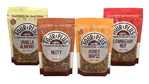 Kelly's Four Plus Granola Variety Pack, 12 oz, 4 count. Best Tasting Natural Maple Syrup Oats and Honey Granola Cereal, Healthy Crunchy Gluten-Free, Best Granola for Yogurt Topping, Breakfast Cereal (Best Tasting Healthy Yogurt)