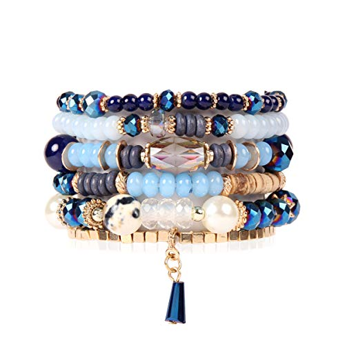 RIAH FASHION Bead Multi Layer Versatile Statement Bracelets - Stackable Beaded Strand Stretch Bangles Sparkly Crystal, Tassel Charm (Crystal Bead Mix - Navy) (Crystal Bangle Acrylic Bracelet)