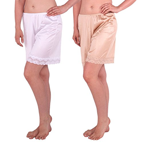 Classic Bloomers - Under Moments Women's Classic Pettipants Bloomers boxer-White-nude-22-XXL-2PK