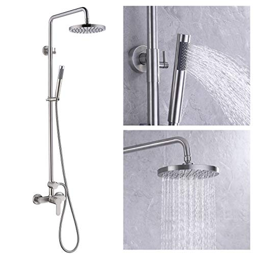 KES Rain Shower System Pressure Balancing Valve Exposed Shower Set Rainfall Shower Head Adjustable Slide Bar 2-Function Brushed Nickel, XB6008D-BN